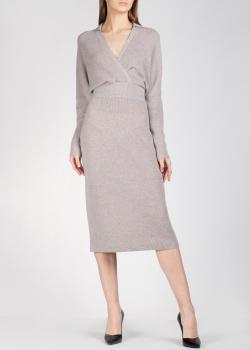 Трикотажное платье Agnona серого цвета, фото