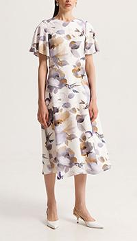 Платье Shako с рукавами-крыльями белое в цветы, фото