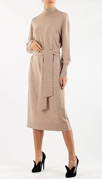Бежевое трикотажное платье Repeat Cashmere с кашемиром, фото