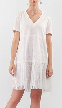 Белое платье Twin-Set с юбкой из кружева, фото
