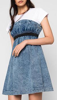 Джинсовое платье Twin-Set My Twin с контрастной черной резинкой, фото