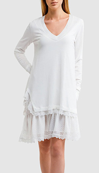Трикотажное платье Twin-Set белого цвета, фото