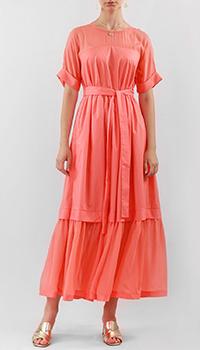 Коралловое платье Twin-Set с поясом, фото