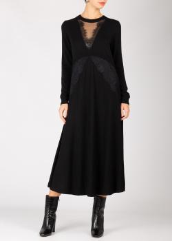 Трикотажное платье Twin-Set с вставками из кружева, фото
