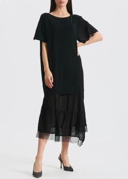 Черное платье Twin-Set из льна и хлопка, фото