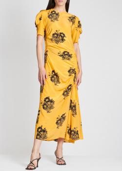 Шелковое платье N21 желтого цвета с принтом, фото