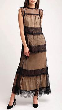 Платье-макси Twin-Set с кружевной сеткой, фото
