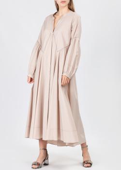 Бежевое платье-миди Dorothee Schumacher с объемными рукавами, фото