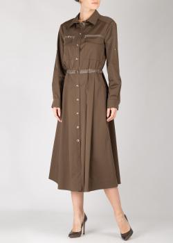 Платье-рубашка Airfield из хлопка с оливковым оттенком, фото