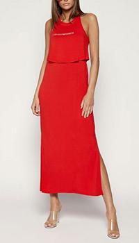 Длинное платье Ea7 Emporio Armani красного цвета, фото