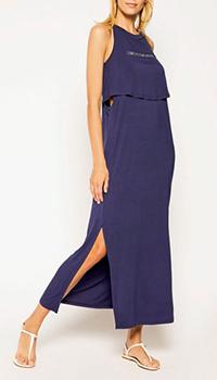 Трикотажное платье Ea7 Emporio Armani синего цвета, фото