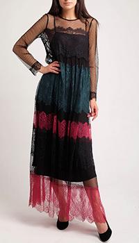 Кружевное платье Twin-Set с длинным рукавом-сеткой, фото