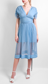Шелковое платье Patrizia Pepe голубого цвета, фото
