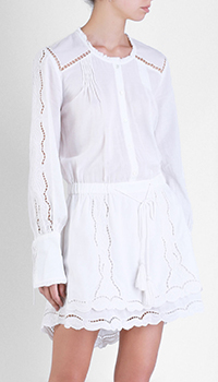 Белое платье Patrizia Pepe с кружевными вставками, фото