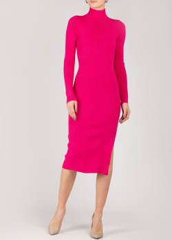 Трикотажное розовое платье Patrizia Pepe с разрезом, фото