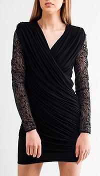 Короткое кружевное платье Balmain черного цвета, фото