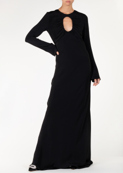 Длинное платье Cushnie et Ochs из шелка черного цвета, фото