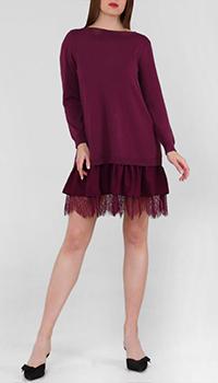 Бордовое платье Twin-Set с кружевом, фото