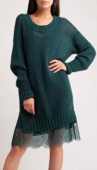 Вязаное изумрудное платье Twin-Set с кружевной подкладкой, фото