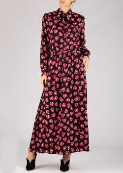 Черное платье-рубашка Love Moschino с принтом, фото