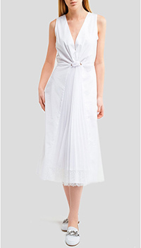 Белое платье Ermanno Scervino с эластичным поясом на резинке, фото
