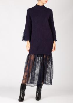 Фиолетовое платье Ermanno Ermanno Scervino с кружевным подолом, фото