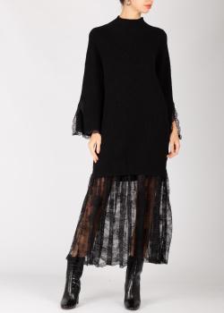 Платье с кружевом Ermanno Ermanno Scervino черного цвета, фото