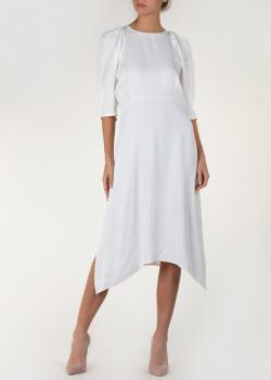 Белое платье Khaite с асимметричным подолом, фото