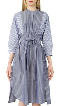 Синее платье-рубашка Max Mara в полоску, фото