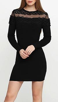 Короткое черное платье Cashmere Company с прозрачными вставками, фото