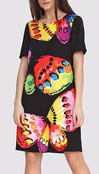 Платье черное Boutique Moschino с принтом-бабочками, фото