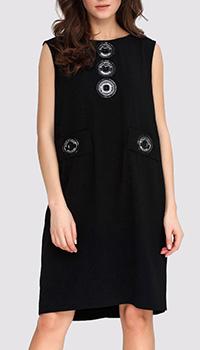 Прямое черное платье Boutique Moschino с декором, фото