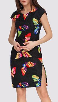 Платье черного цвета Boutique Moschino с бабочками и молнией на бедре, фото