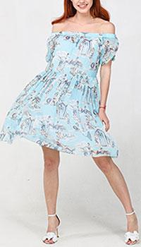 Голубое платье Blugirl Blumarine с открытыми плечами, фото