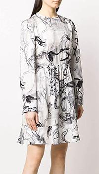 Шелковое платье Stella McCartney с растительным узором, фото