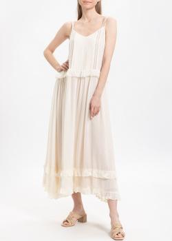 Белое платье Twin-Set на бретелях с пышной юбкой, фото