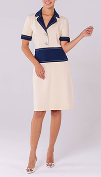 Бежевое платье Gucci с синими элементами, фото