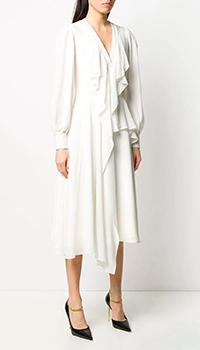 Платье из шелка Alexander McQueen с асимметричным подолом, фото