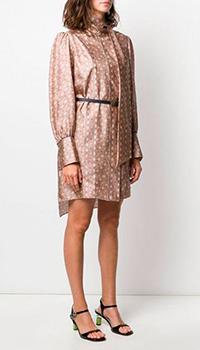 Шелковое платье Fendi с мелким принтом, фото