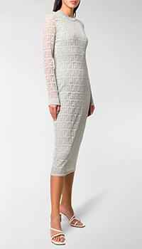 Серебристое платье-миди Fendi FF Pattern, фото