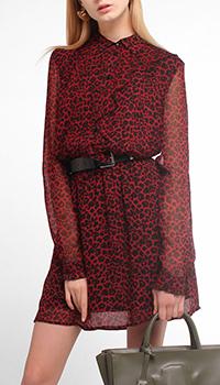 Бордовое платье Liu Jo с леопардовым принтом, фото