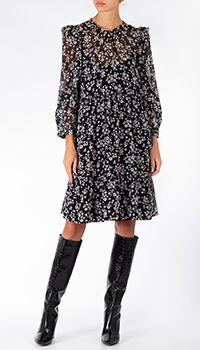 Черное платье-рубашка Riani в цветы, фото