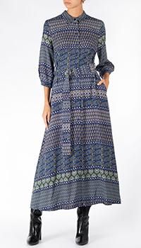 Синее платье Riani с поясом, фото