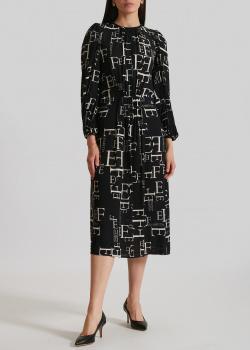 Черное платье Elisabetta Franchi с принтом-буквами, фото