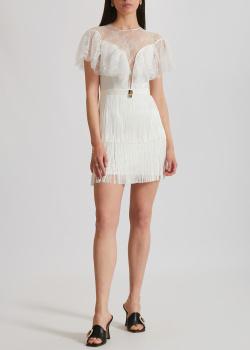 Белое платье Elisabetta Franchi с бахромой, фото