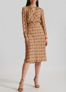 Бежевое платье Elisabetta Franchi с длинным рукавом, фото