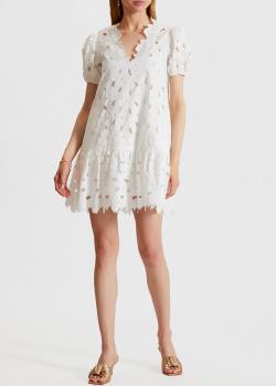 Белое платье Red Valentino с вышивкой в виде цветов, фото