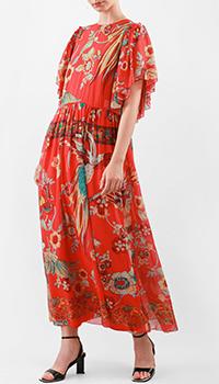 Красное платье Red Valentino с воланами на рукавах, фото