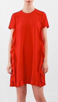 Красное платье Red Valentino с фактурными оборками, фото