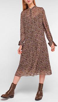 Коричневое платье Luisa Cerano с цветочным принтом, фото